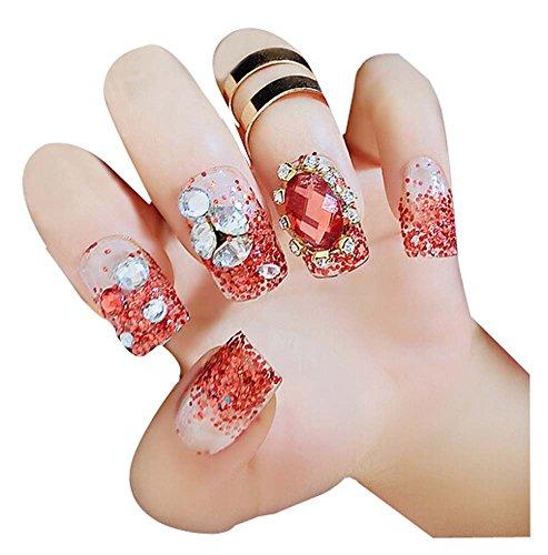 2 Boîtes(48Pièces) Cristal mariage faux ongle/Classique style faux ongle, Rouge