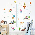 Wallpark Cute Animals Traffic Cars Sun Stars Space Rocket Height Sticker, Growth Height Chart Measuring Removable Wall Decal, Children Kids Baby Home Room Nursery DIY Decorative Art Wall Mural