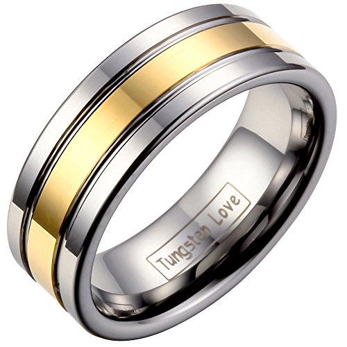 JewelryWe Schmuck 8mm Breite Wolframcarbid Herren-Ring, Damen-Ring, Engagement Hochzeit Band, Farbe Gold Silber, Größe 57 bis 71