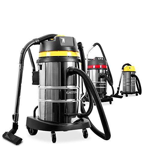 Klarstein IVC-50 • Industriesauger • Nasssauger • Trockensauger • 2000 W • IP X4-Schutz • Doppelradmotor • 50 Liter Edelstahl-Behälter • Schnellverschlüsse aus Metall • HEPA-Feinstofffilter • 70 cm Wasserablaufschlauch • umfangreiches Zubehör • silber-gelb - 3