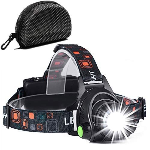 Cobiz Head Torch, Zoomable Waterproof USB Rechargeable Walkers Head lights-Black
