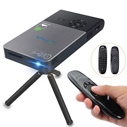 Mini Beamer, OTHA DLP Projektor, 32GB Speicher, HDMI Eingang, Android Heimkino Projektor mit Auto Keystone Korrektur, Bluetooth und Wi-Fi Wireless Connectivity, Schwarz