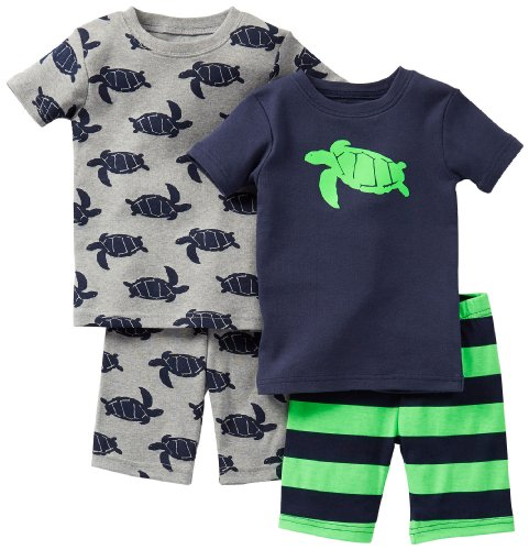 Carter's Schlafanzug 80/86 kurz 2x Pajama 4 teilig ( 24 Monate) Junge Schildkröte blau grün (Kurzen Schlafanzug Carters)