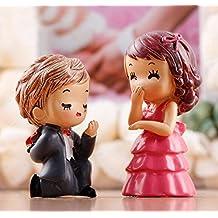 LU2000 Proponer a su Minifiguras Small Size Micro Figurines Estatua Novio Groom Parejas [Serie de la boda] para la decoración de escritorio de escritorio de Paisaje Micro Little Statue Mini Sclupture Paquete de 2