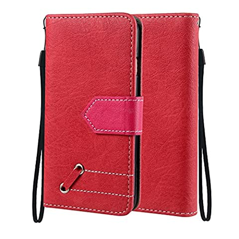 iPhone 6 Plus / 6S Plus Case, Cozy Hut iPhone 6 Plus / 6S Plus Brun Leather Flip Case [Card Slots] Leather Wallet Case Cover and Stand [Retro] for iPhone 6 Plus / 6S Plus - red