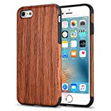 TENDLIN Coque iPhone 6s Plus Bois et Souple TPU Silicone Hybrid Slim Etui pour iPhone 6 Plus et iPhone 6s Plus (Bois de Santal Rouge)