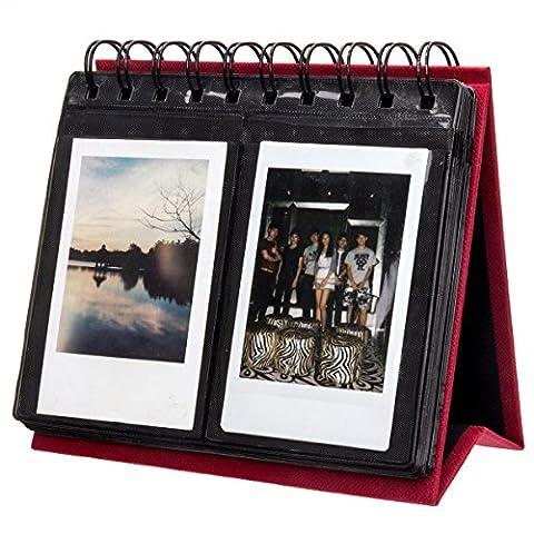 Woodmin 68 Poches Calendrier Album Photo de Fujifilm Instax Mini 70 7s 8 25 50 90, Polaroid Z2300, Polaroid PIC-300P Film (Rouge)