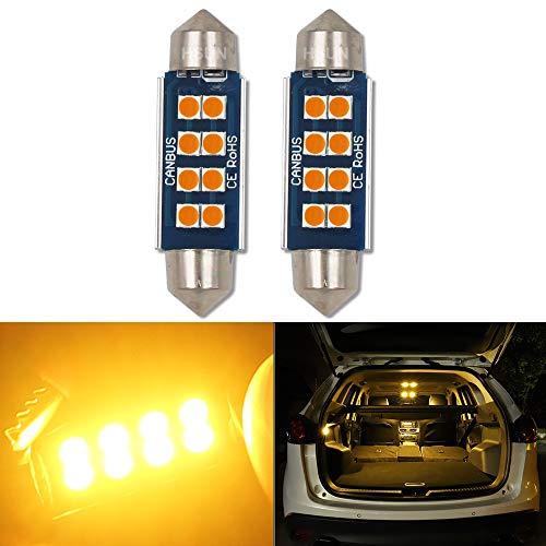 HSUN 42 mm Ampoule LED C5 W, 12 V-14 V 6411 239 569 578 212-2 2112 2122 214-2 Canbus sans erreur avec puce 8 LED SMD3030 pour éclairage intérieur dôme et plus encore 2 lots, Ambre/orange