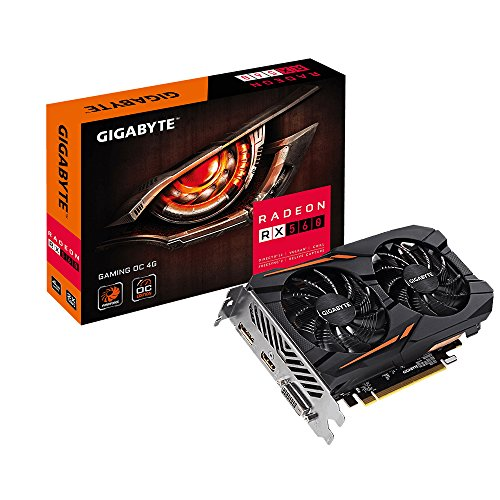 Price comparison product image GIGABYTE AMD GV-RX560GAMING OC-4GD 4 GB GDDR5 256-Bit Memory DVI/DP/HDMI PCI Express 3 Graphics Card - Black