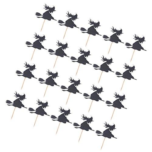 MagiDeal Halloween Cupcake Picks - Hallowmas Cupcake Topper - Hexe mit Besen Form - Kuchen Zahnstocher - Set/20Stück - Schwarz, 10 x 9cm