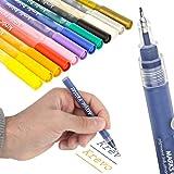 KrevoArt Acrylstifte dünne Spitze 0,5mm Marker Stifte in 12 Acrylfarben, permanent UV-resistent, geeignet für Filigrane Malerei auf Verschiedene Oberflächen Stoff Glas Stein Holz Metall Papier