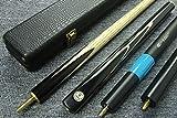 """Grand-Handmade 58"""" 3/4 Piece Black Ebony Snooker Cue+Case+2 Extensions#YX20"""