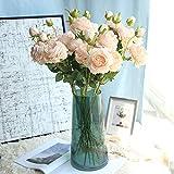 Reinefleur Rose Ensemble 3 Branches 9 Têtes Pivoine Fleur Artificielle Décoration Mur De Mariage Faux Fleur Maison Fête (Champagne)
