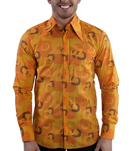 70er Jahre Hemd TV orange XL (70er Disco-shirts)