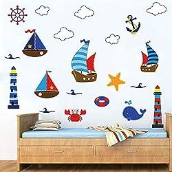 decalmile Wandtattoo Leuchtturm Segelboot Anker Wandsticker Nautisch Wandaufkleber Babyzimmer Kinderzimmer Schlafzimmer Wohnzimmer Wanddeko