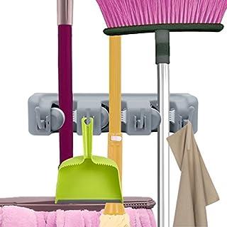 Gerätehalter Wandhalterung, Rixow Ordnungsleiste Wandhalter mit 3 Haken und 4 Schnellspannern für Mopp ,Besen und Gartenwerkzeug usw. (3*4)