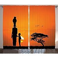 Orange Venue Çift Kanatlı Fon Perde, Kumaş, Afrikalı Kadın, 145 X 270 cm