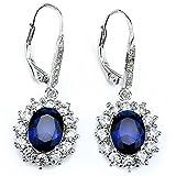 DACHMA 925 Sterling Silver Diamond Accent Sapphire Zircon Leverback Dangle Earrings For Women