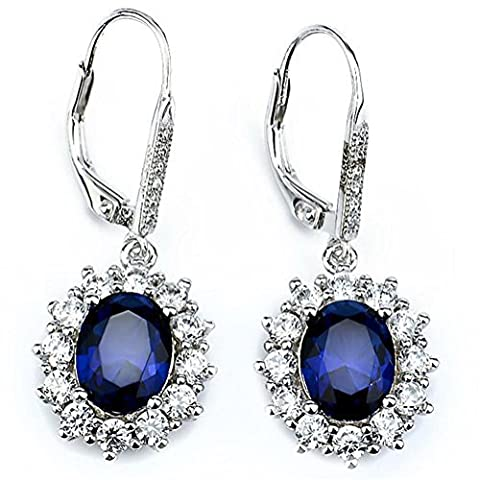 DACHMA 925 Sterling Silver Diamond Accent Sapphire Zircon Leverback Dangle Earrings For Women