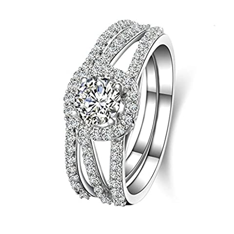 AMDXD Jewelry Sterling Silver Women Customizable Rings Hollow Full CZ Double Rings Size N