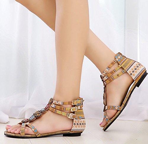 Femmes Flat Sandals chaussures de mode Perlée Bohême Avec Fermeture À Glissière Abricoté