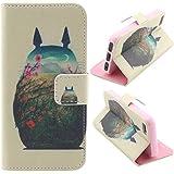 Matek® iPhone 4S 4G cuero Funda (Totoro ) patrón moda Impresión Monedero Funda con Tarjetas Slots Imán del tirón Párese Estuche de cuero