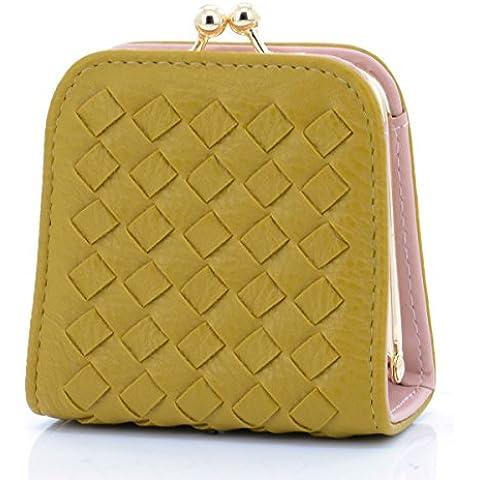 Tejido de piel sintética tarjetero u-times señoras pequeño Monedero joyas bolsa de cosméticos, Small, Amarillo