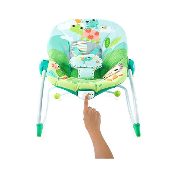 Bright Starts Playful Parade Baby to Big Kid Rocker Bright-Starts Seat can rock back and forth to soothe, or can be set to a fixed position for small babies and older toddlers Full body recline with 2 positions Soothing vibrations 13