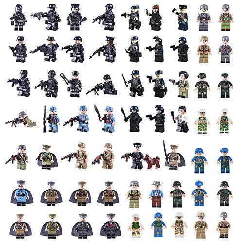 15000P 62St. Mini Soldaten Figuren Set SWAT Team Polizei Minifiguren Satz Adventskalender Inhalt Bausteine für Kinder