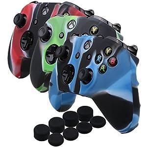 YoRHa Silikon Hülle Abdeckungs Haut Kasten für Microsoft Xbox One X & Xbox One S controller x 3 (Camouflage rot&Camouflage blau&Camouflage grün) Mit PRO aufsätze thumb grips x 8