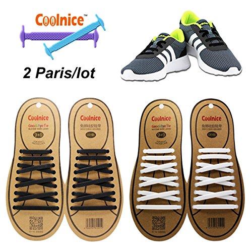 Coolnice Lacci Elastici No Tie Lacci per Scarpe Adulti Bambini Pizzo Elastico Impermeabile Pratica in Silicio per Scarpe Sportive Sneaker Board-Nero+bianco