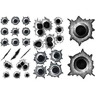 GDS MedienTeam GmbH Einschuss-Löcher Sticker Set I Bullet Kratzer als Auto-Aufkleber, für Roller Moped Motorrad-Helm Laptop Smartphone I schwarz grau I kfz_195