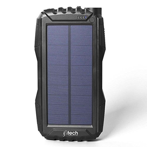 IFITech Solar Charger, Portable 20000mAh Solar Power Bank, Waterproof Solar External Battery Pack with Dual USB Ports and Flashlight for iPhone, iPad, Samsung, Android Phones and More (Black)
