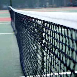 Netsportique Tennisnetz Doppel PRO 12,8 m, Polyester 3,5 mm,Wetterfest und UV-Schutz, obere 6 Reihen – Doppelmaschig
