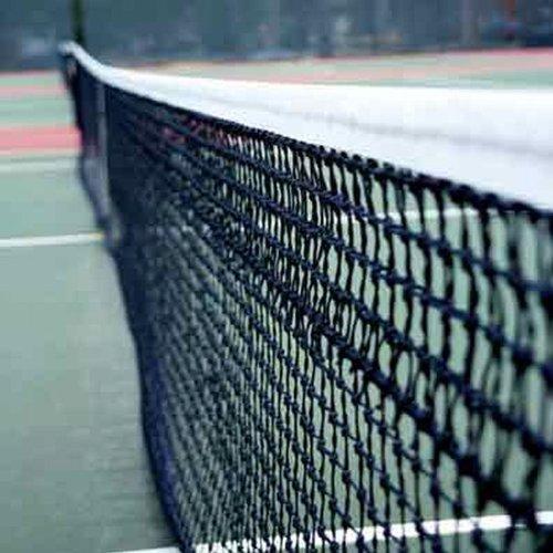 Netsportique Tennisnetz Doppel PRO 12,8 m, Polyester 3,5 mm,Wetterfest und UV-Schutz, obere 6 Reihen - Doppelmaschig