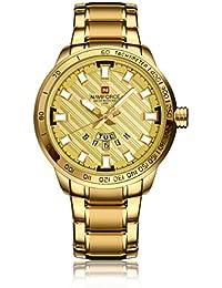 Naviforce reloj Sport Fashion acero inoxidable de la goma de cuarzo reloj de pulsera con fecha pantalla para hombres (oro)