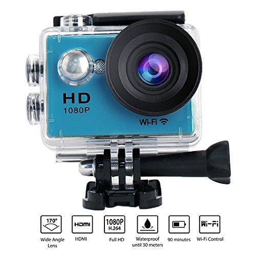 Yuntab® W9 1080P WIFI action camera per Sport con 2.0 Inch LCD Display 12MP 170 Gradi Ampio Angolo videocamera Micro USB 2.0 Micro Hdmi Support 32G Tf Card SD Card con 900mah Batteria Ricaricabile Sott'acqua 30m,Sport All'aperto, Sport Acquatici, Immersione, Registratore per Auto, Fotocamera DVR, Vari Accessori Sono Inclusi (Blu)