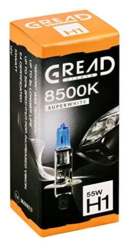 2x H1 Halogen Lampen in Xenon Optik von Gread Lights   Super White   8500k 55W   E-Prüfzeichen   100% Passgenauigkeit & lange Lebensdauer Test