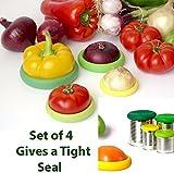 SMARTSTORE Set 4 Silicone Flexible JAR HUGGERS -FRIDGE STORAGE -Fruits & Vegetable Storage -Can Lid, Jar Cover