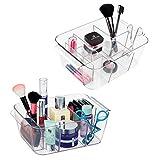 mDesign Kosmetik Organizer – Kosmetik Aufbewahrungsbox mit diversen Fächern – die perfekte Schminkaufbewahrung für Nagellack, Puder etc. – transparent