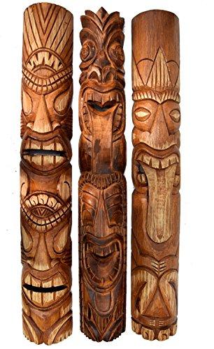3 Tiki Wandmasken 100cm Wandmaske Tiki Maske Hawaii Holzmaske Masken