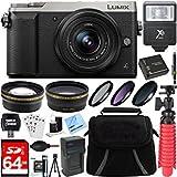 #8: Panasonic LUMIX GX85 4K Silver Mirrorless Interchangeable Lens Camera w/ 12-32mm Lens + 64GB SDXC Memory Card + Gadget Bag + 37mm Filter Kit + Wide Angle+Telephoto Lens+Card Reader+Mini Tripod & More