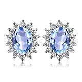 JewelryPalace Pendientes de piedra preciosa del Topaz azul natural de Kate Middleton princesa Diana 925 1.6ct