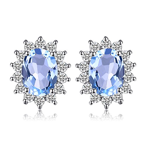 Jewelrypalace Principessa Diana William Kate 1.2ct Naturale Blu Topazio Halo Stud Orecchini 925 Sterling Argento