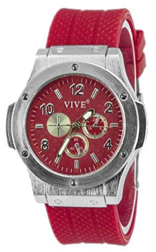 Einzigartige HOT SUN SUMMER TIME Edelstahl Armbanduhr in Rot mit Silikonarmband Color Edition