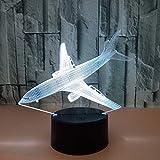 Lampe 3D Plan d'atterrissage 7 Couleurs Tactile Télécommande USB Rechargeable LED...