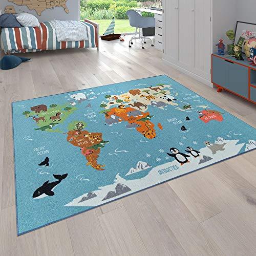 Paco Home Kinder-Teppich, Spiel-Teppich Für Kinderzimmer, Weltkarte Mit Tieren, In Grün, Grösse:140x200 cm