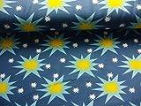 Qualitativ hochwertiger, gemusterter Jersey Stoff mit gelben Sterne/Hellblau auf Blau als Meterware mit Öko-Tex Zertifizierung zum kreativen Nähen von Kinder- und Baby Kleidung, 50 cm