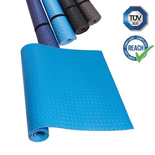 HD Fitness appetino antiscivolo per tappetino in EVA Tappetino per yoga leggero antiscivolo e insonorizzante - Tappetino protettivo per pavimentazione,Testato TÜV e SGS, azurro 200x100cm