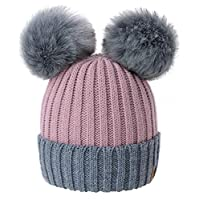 4sold Miki Colour Rouse Pink Grey Womens Girls Winter Hat Wool Knitted Beanie with Double Pom Pom Cap Ski Snowboard Bobble